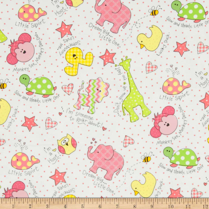 Kimberbell Little One Flannel Too Tossed Ones Pink Fabric