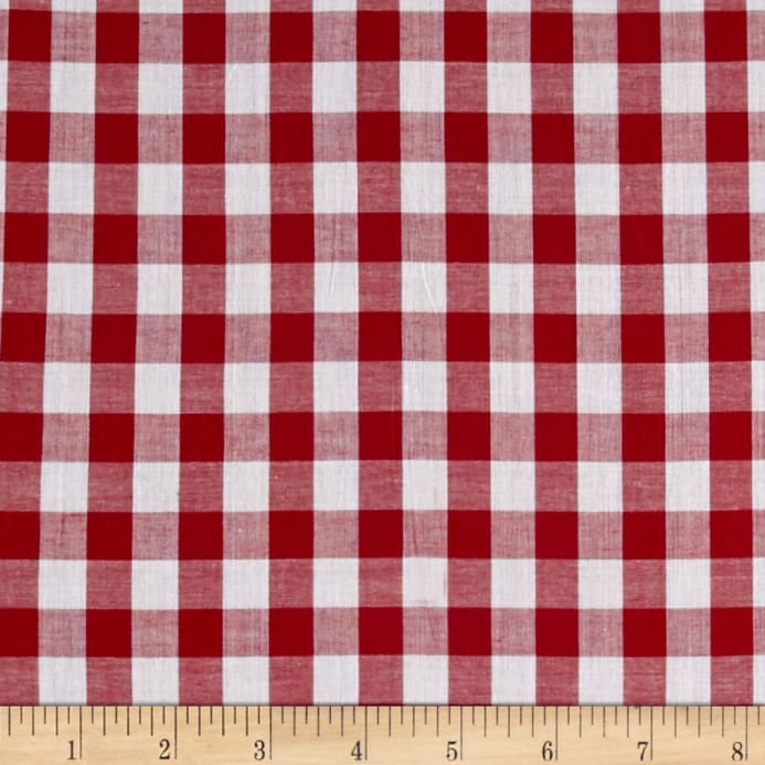 Lawn Gingham Check Red White Fabric