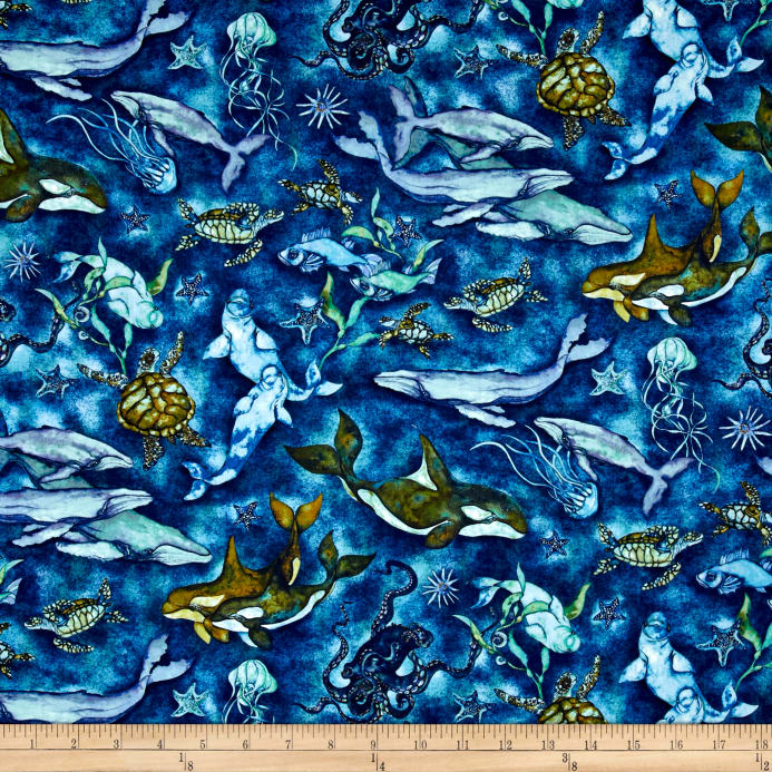 Kaufman Wilderness Expressions Sea Life Ocean Fabric