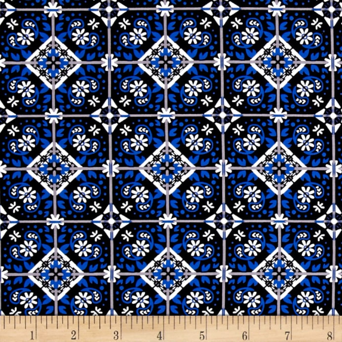 Zoom Telio Bloom Stretch Cotton Sa Spanish Tile Print Blue