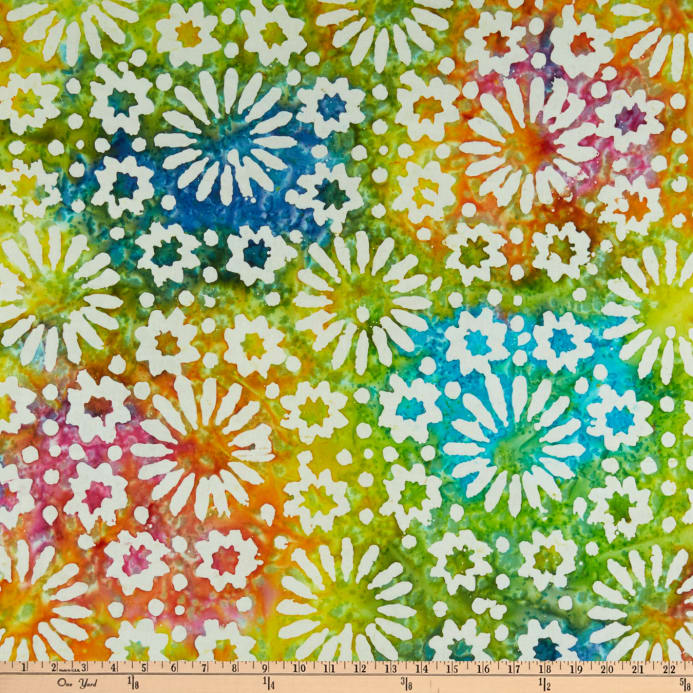Indian Batik Cascades Daisy Bright Multi