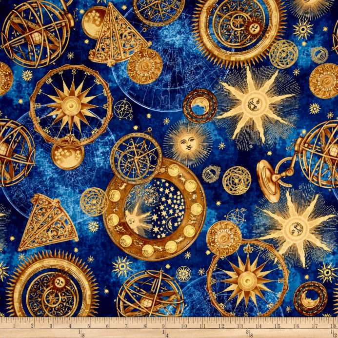 Star Gazing Metallic Celestial Navy Gold Discount