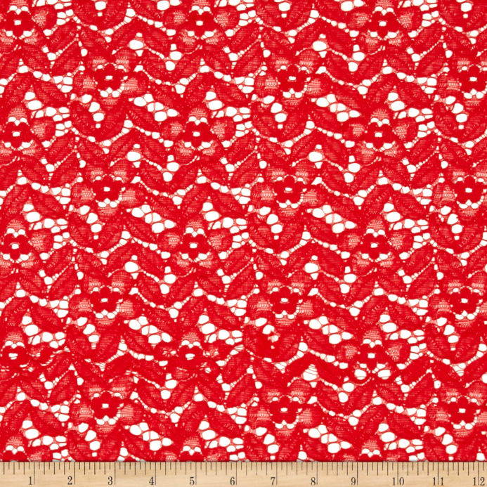 Crochet Lace Floral Coral Lace Discount Designer Fabric Fabric