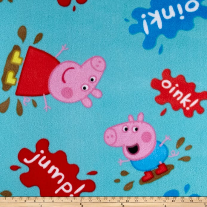 Entertainment One Peppa Pig Muddy Puddles Fleece Teal - Discount ... : peppa pig quilting fabric - Adamdwight.com