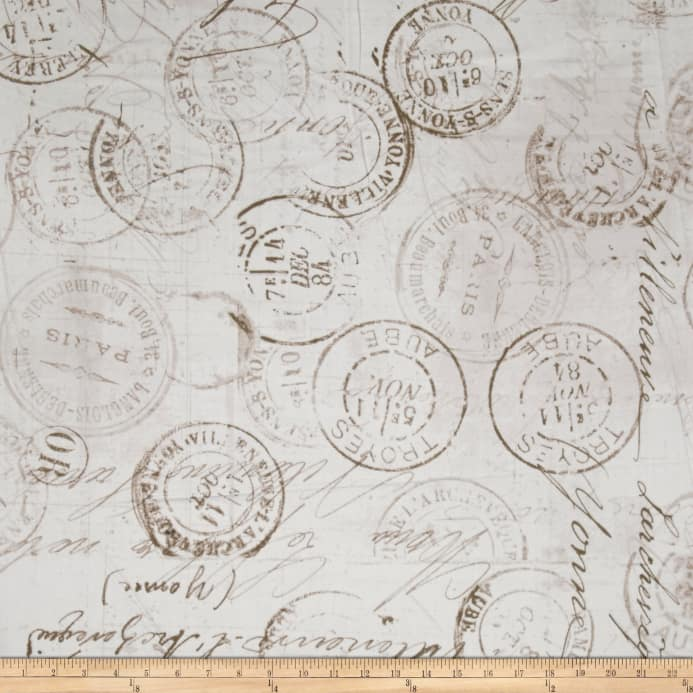 Tim Holtz Eclectic Elements 108 Quilt Backing Correspondence Taupe