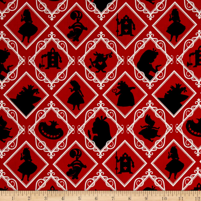 Disney Alice In Wonderland Frames Red Discount Designer Fabric