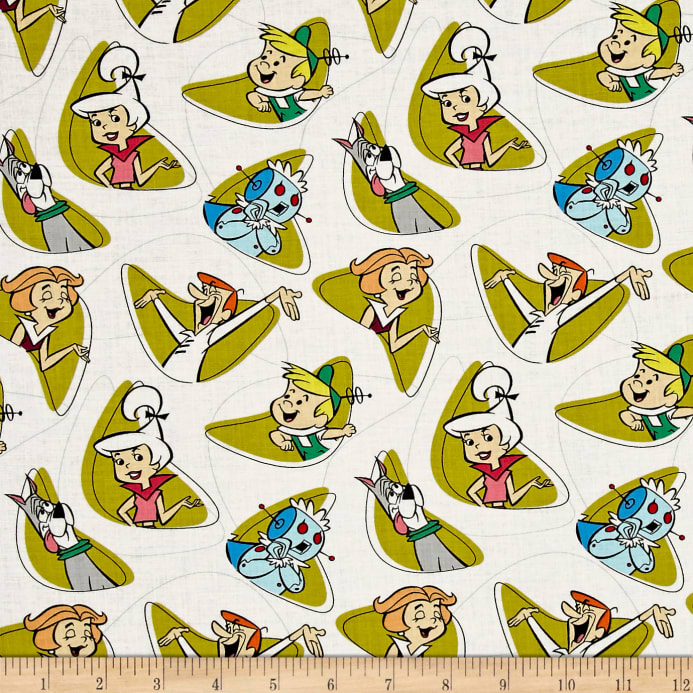 The Jetsons Characters Shapes White - Discount Designer Fabric ...