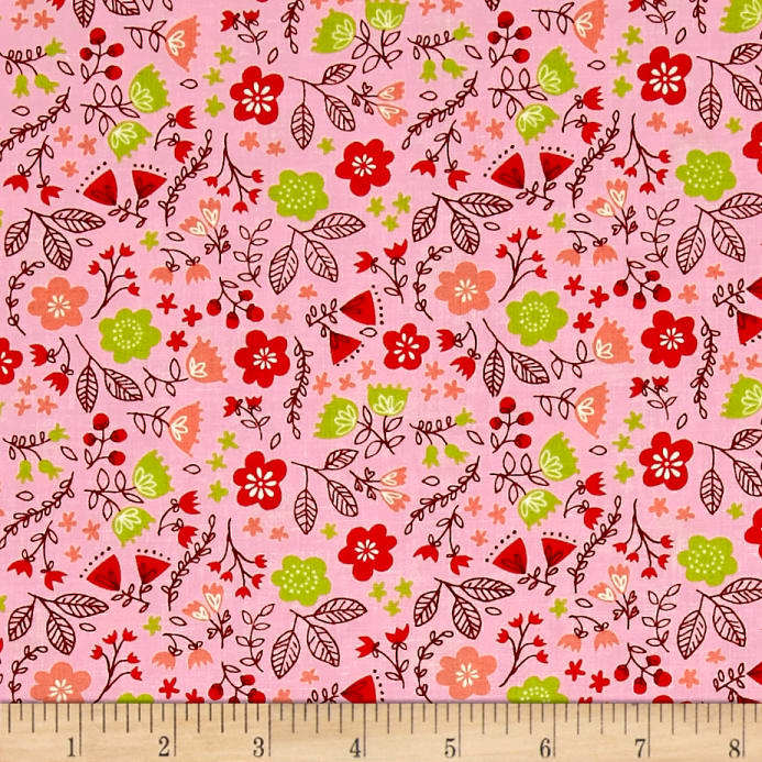 Moda Just Another Walk In The Woods Toss Garden Pink Fabric