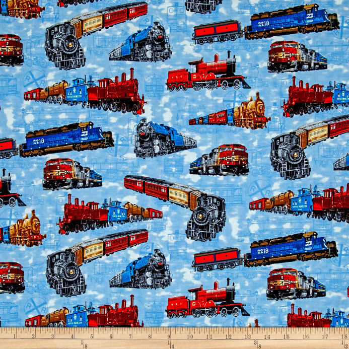 A ticket to ride allover trains blue discount designer for Train print fabric