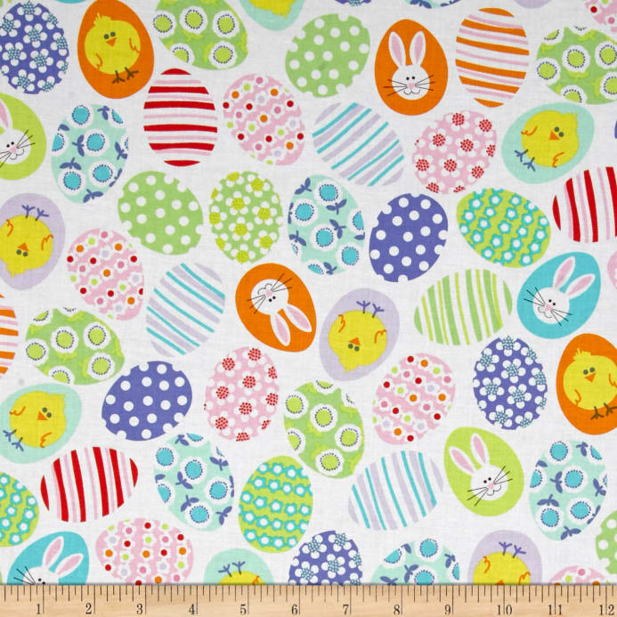 Kanvas Funny Bunnies Decorated Eggs White Discount Designer Fabric