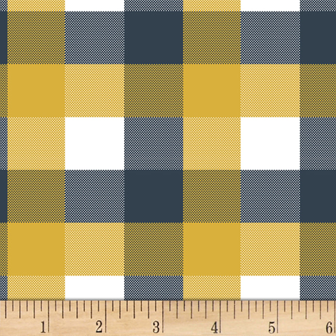 21d100520cf Bolt by Girl Charlee Homestead Life Jersey Knit Brienne Plaid Mustard/Blue/White  Fabric