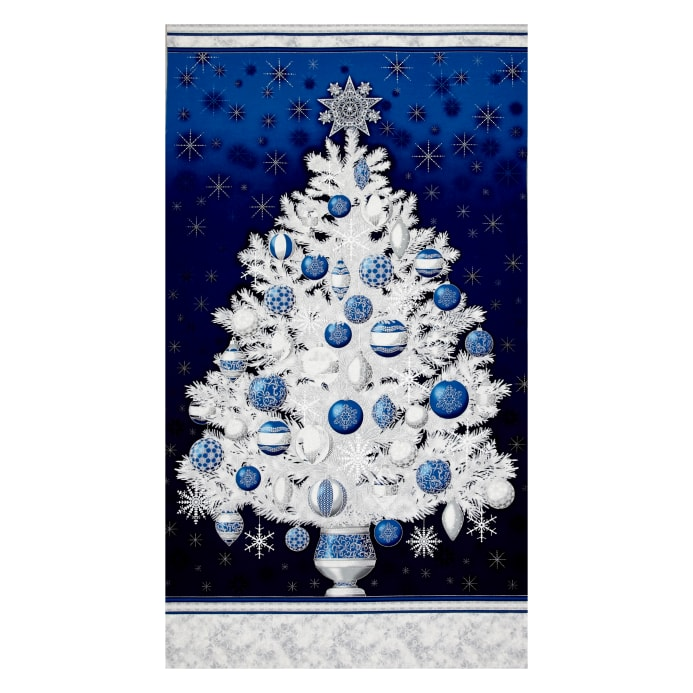 Kaufman Winter Grandeur Metallic Tree 23 5 Quot Panel Evening