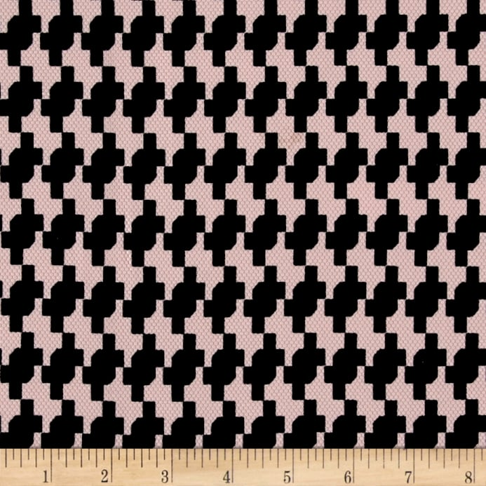 Zoom Pique Double Knit Black Houndstooth On Pink
