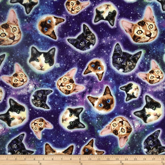 Timeless treasures galaxy cats cat heads in space galaxy for Space fabric quilt