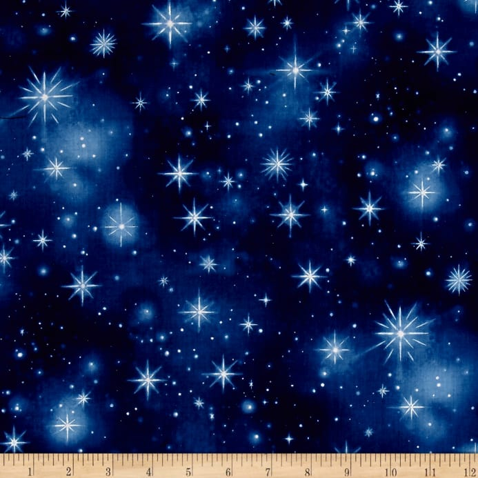 Timeless treasures nativity twinkling stars night for Night sky material