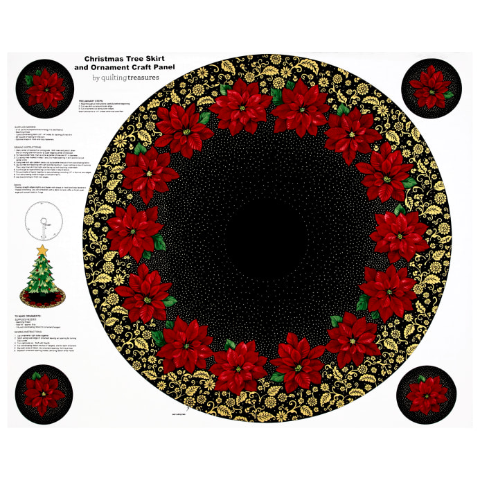 zoom poinsettia grandeur metallic tree skirt 355 panel black