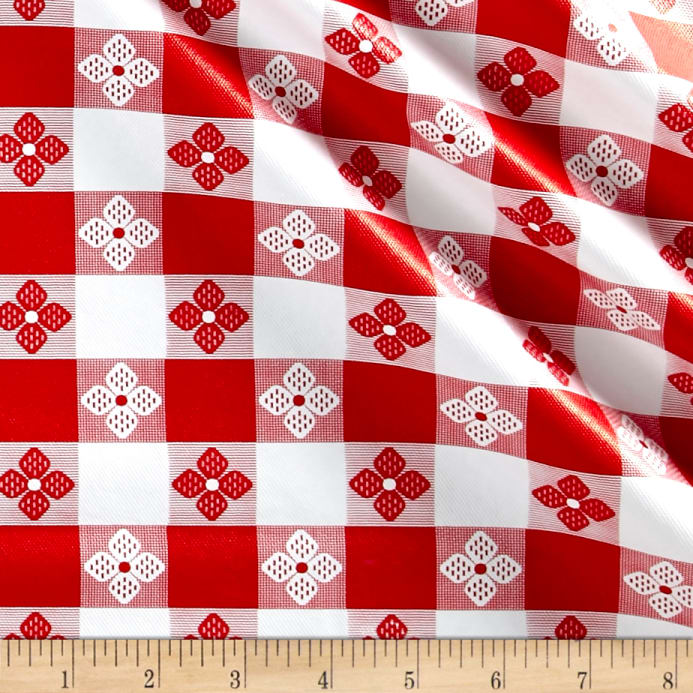 Tavern Check Flannel Backed Vinyl Redwhite Classic Tablecloth