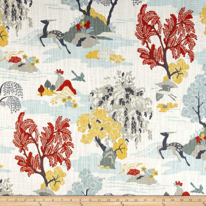 Dwell Studio Modern Toile Persimmon Canvas Fabric