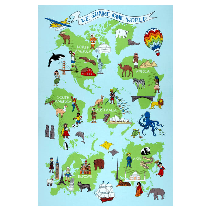 Australia Map Landmarks.We Share One World Super 70 Panel Multi