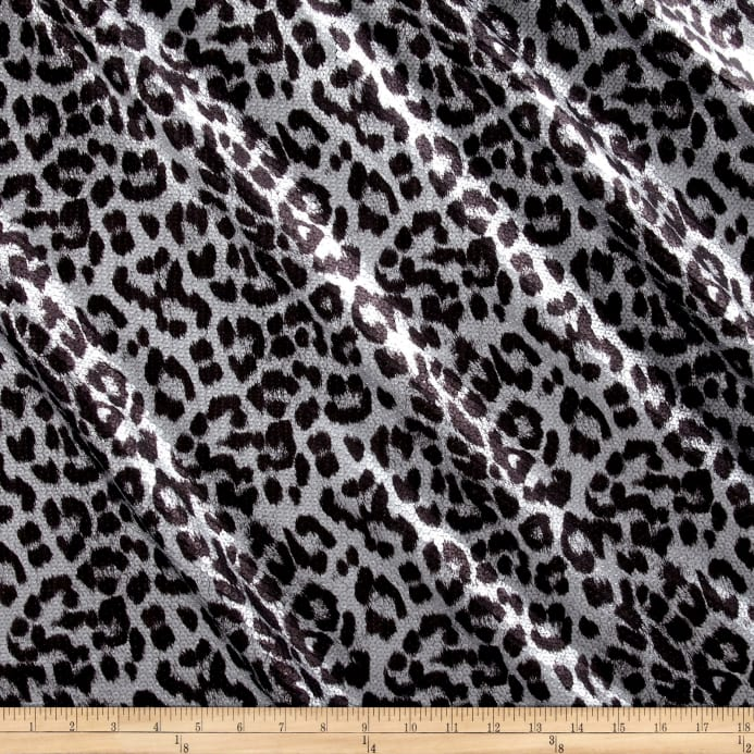 International Deisgner Stretch Sequined Animal Print Black Matte Silver