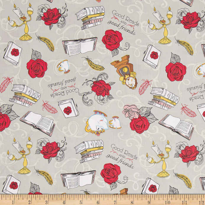 Cockerels Are Scattered All Over This Fabric Made From: Disney Beauty And The Beast Friends Grey
