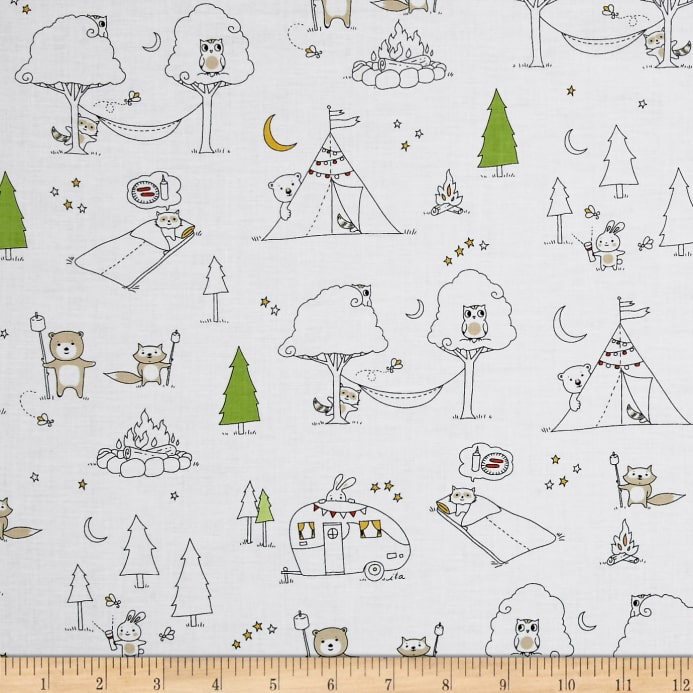 SALE 100/% Camp Fire S/'more Animals Camping Scenic Ink /& Arrow