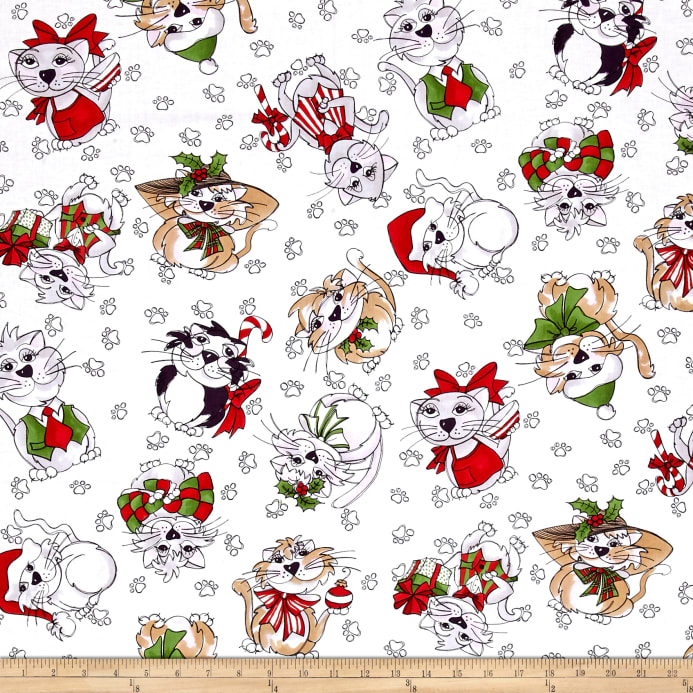 Loralie Designs Kitty Kitty Christmas Blizzard White - Discount ...