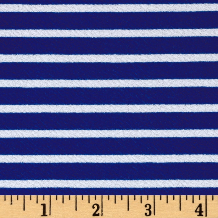 Zoom Liverpool Double Knit Horizontal Stripe Royal White