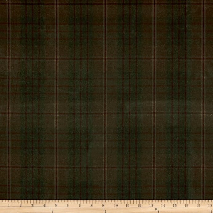 675 Oz Plaid Waxed Canvas Rustic Olive Discount Designer Fabric