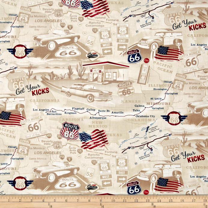 Timeless Treasures Get Your Kicks Route 66 Map Tan