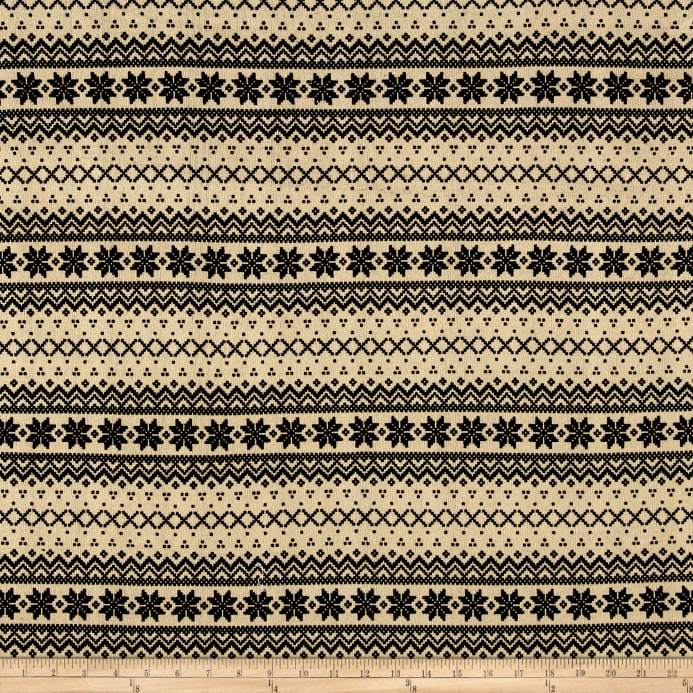 Brushed Hatchi Sweater Knit Fair Isle Black/Tan - Discount ...