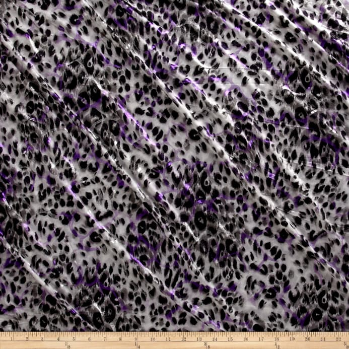 04a422fb50b15b ITY Stretch Jersey Knit Glitter Cheetah Print Purple Silver Gray Black  Fabric