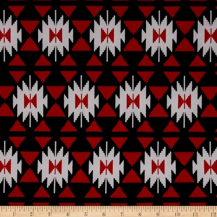 ity stretch jersey knit aztec ikat print red white black discount