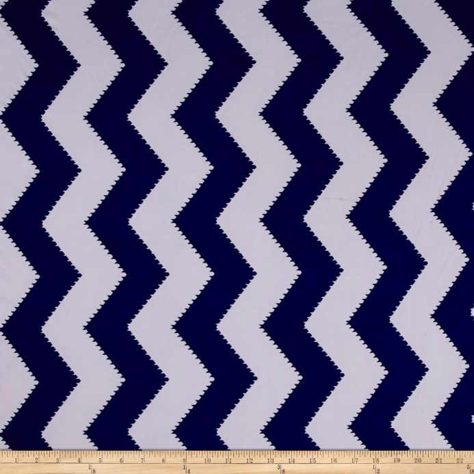 ITY Stretch Jersey Knit spiked Chevron Royal Blue/White - Discount ...