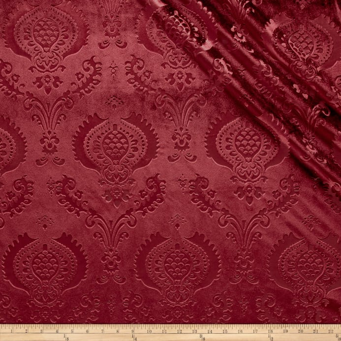 Zoom damask embossed velvet burgundy