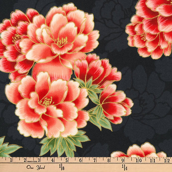 Kaufman Imperial Collection Metallic Flowers Black Fabric