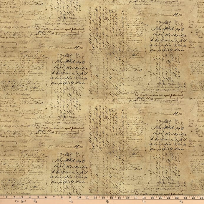 Tim Holtz Dapper Script Neutral Discount Designer Fabric