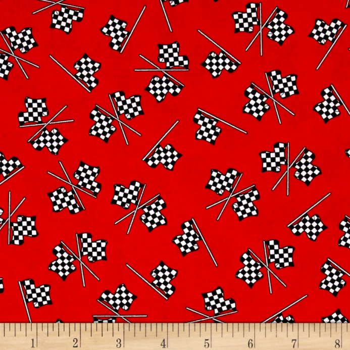 fast track checkered racing flags red discount designer fabric