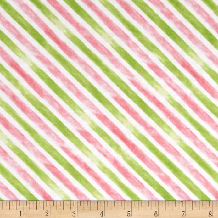 Believe You Can Stripe Pink Green Fabric