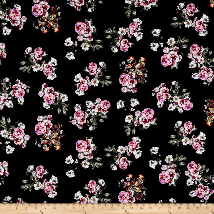 bb2ed04e3ff Double Brushed Poly Spandex Jersey Knit Floral Bouquet Black/Purple Fabric