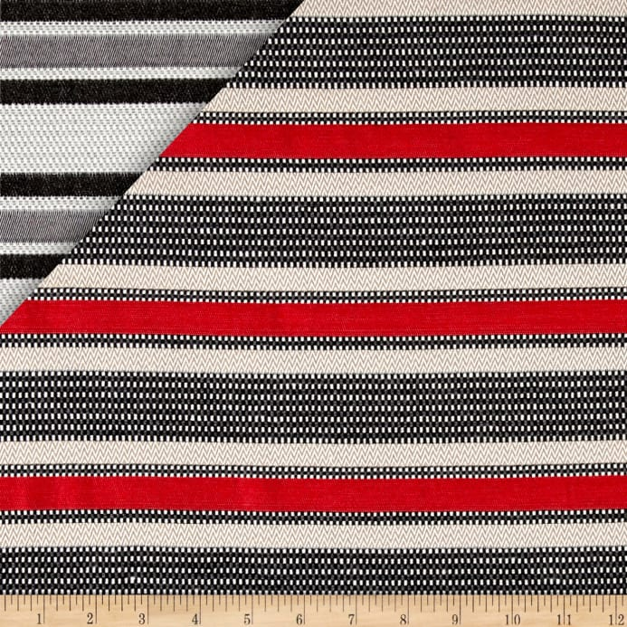 French Striped Jacquard Red/Beige/Gray/White - Discount Designer ...
