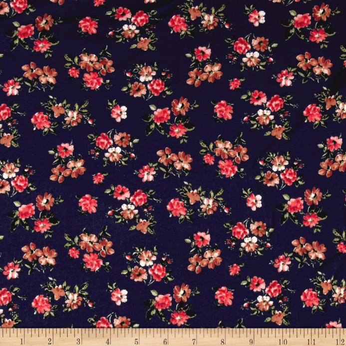 b74f463aa40 Double Brushed Poly Spandex Jersey Knit Floral Navy/Brown/Coral Fabric