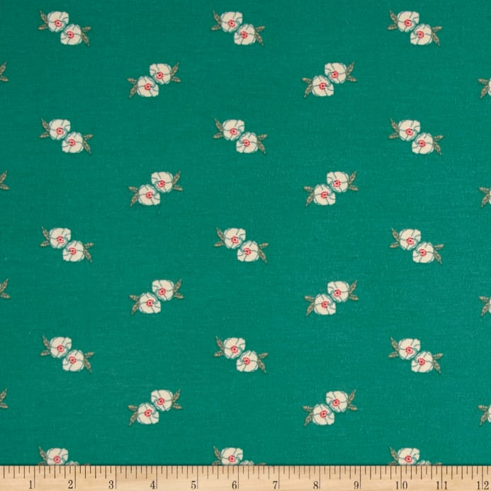 816c8c3ec03 zoom Art Gallery Love Story Jersey Knit Flower Stamp Adore Teal