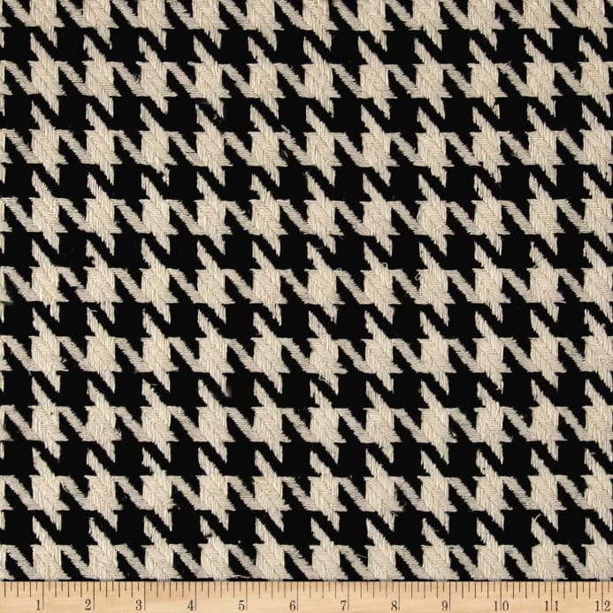 Fancy Houndstooth Basketweave Coating Black White Fabric