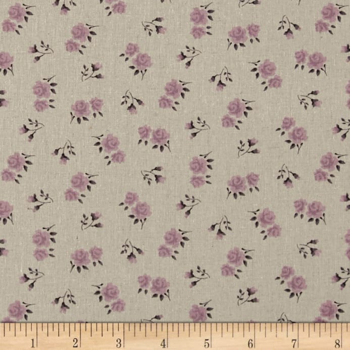 stof shabby chic linen blend roses buds purple discount designer rh fabric com purple shabby chic bedding purple shabby chic bedding