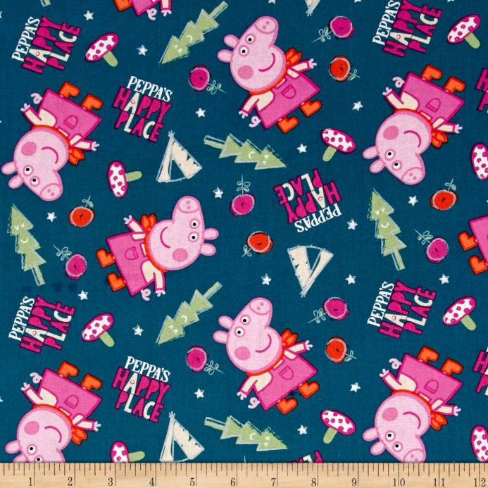 Peppa Pig Peppa's Happy Place Blue - Discount Designer Fabric ... : peppa pig quilting fabric - Adamdwight.com