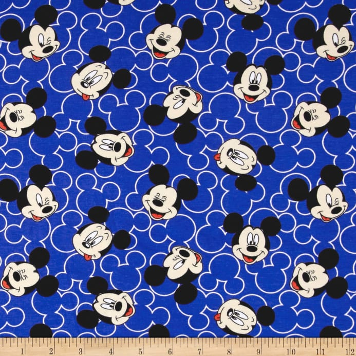 e161f49a1eb Disney Mickey Mickey Mouse Face Toss Jersey Knit Blue - Discount ...