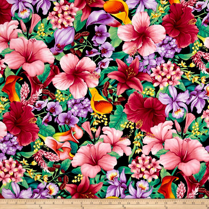 Zoom Timeless Treasures Island Breeze Tropical Floral Tropic