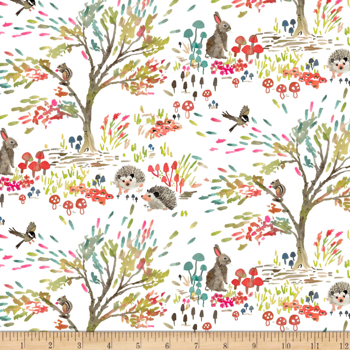 Forest Lake Fabric Home: Enchanted Forest Shady Meadow Toile White