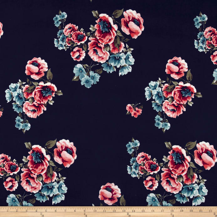 a900749b79b Double Brushed Poly Spandex English Floral Aqua/Coral on Navy Fabric